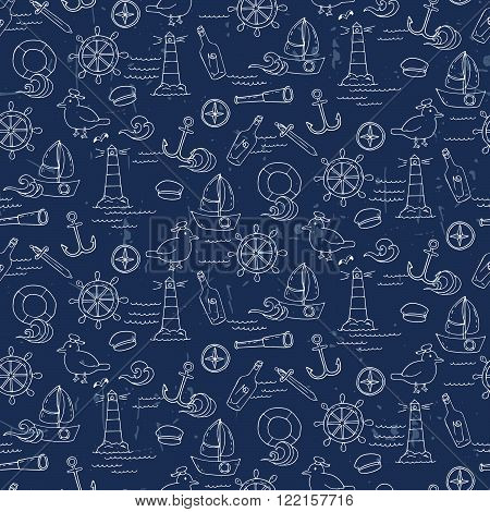 Seamless Pattern With Different Elements For Sea Travelling