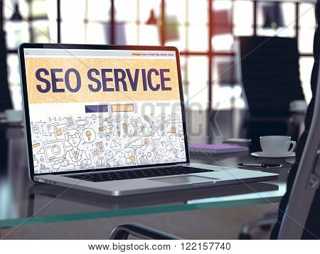 SEO Service Concept. Closeup Landing Page on Laptop Screen in Doodle Design Style. On Background of Comfortable Working Place in Modern Office. Blurred, Toned Image. 3D Render.