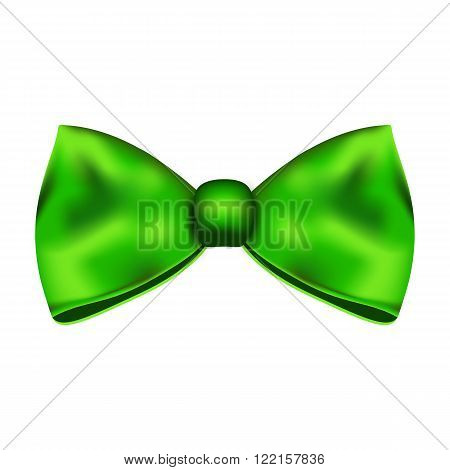 Green silky bow on on a white background. Vector illustration.
