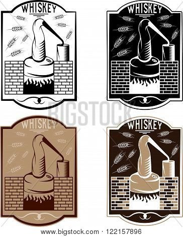 Vintage Vector Labels Of Whiskey With Copper Whiskey Still