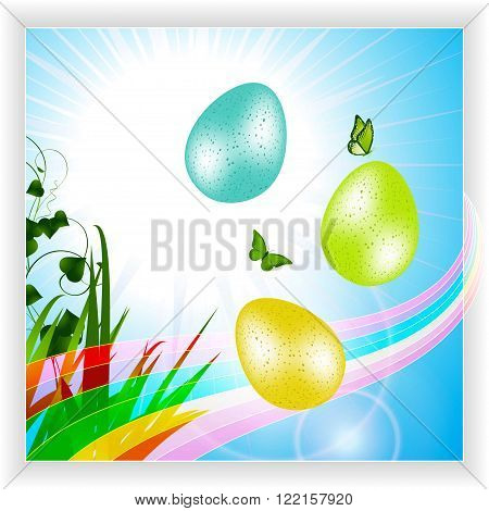 Easter Eggs and Butterfly Over Blue Sky with Rainbow and Green Grass Panel