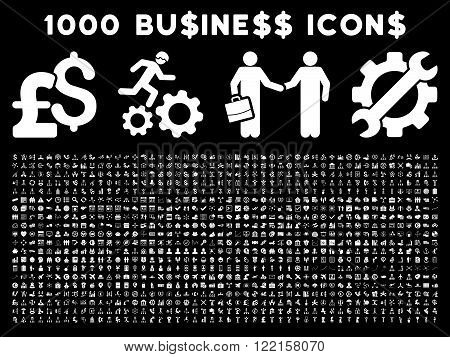 1000 Business vector icons. Pictogram style is white flat icons on a black background. Pound and dollar currency icons are used