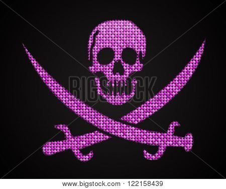 Vector pink sequin skull. Jolly Roger on dark background