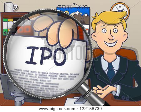 IPO - Initial Public Offering - on Paper in Mans Hand through Magnifying Glass to Illustrate a Business Concept. Multicolor Modern Line Illustration in Doodle Style.