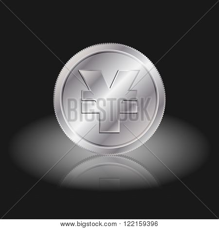 Symbol currency yuan. Yuan sign on silver coins with shadow on a black background.