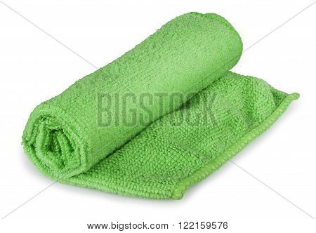 one roll green universal microfiber napkin for cleaning isolated on white background