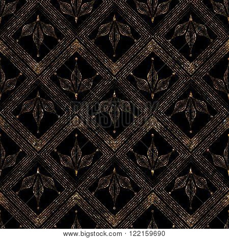 Geometric ornament gold seamless pattern. Modern art deco stylish lace texture. Gold trendy glitter print on black background
