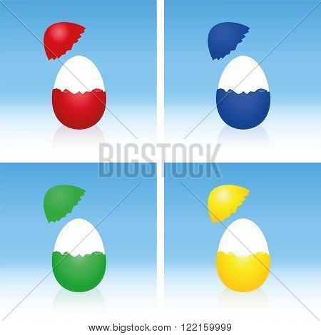 Easter eggs with cracked half peeled shell and hard boiled egg white. Three-dimensional vector illustration on gradient blue background.