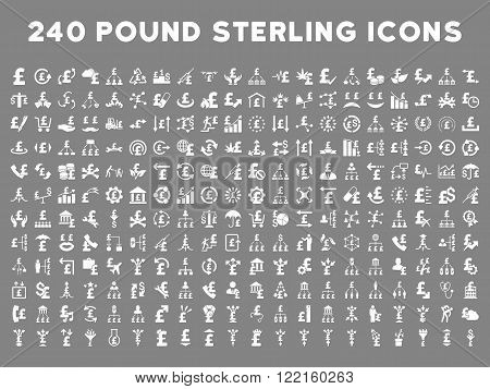240 British Business vector icons. Style is white flat symbols on a gray background. Pound sterling icon is basic element.