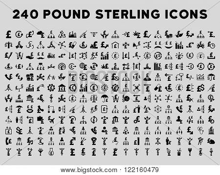 240 British Business vector icons. Style is black flat symbols on a light gray background. Pound sterling icon is basic element.