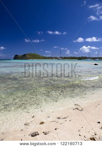 Quiet bay of the island Gabriel. Mauritius.