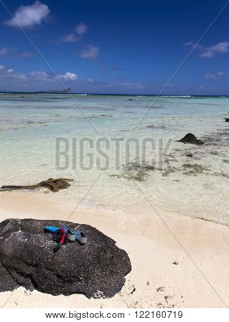 Quiet bay of the island Gabriel. Mauritius. ** Note: Visible grain at 100%, best at smaller sizes