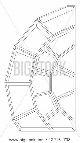 Vector illustration of big and wooden bookcase
