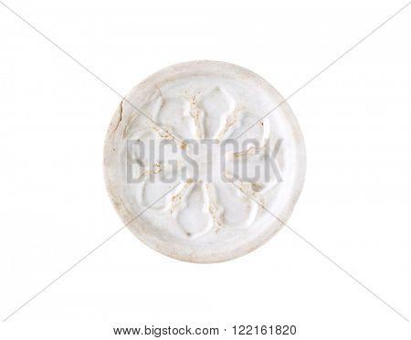 white ceramic coaster isolated on white