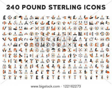 240 British Business vector icons. Style is bicolor orange and gray flat symbols on a white background. Pound sterling icon is basic element.