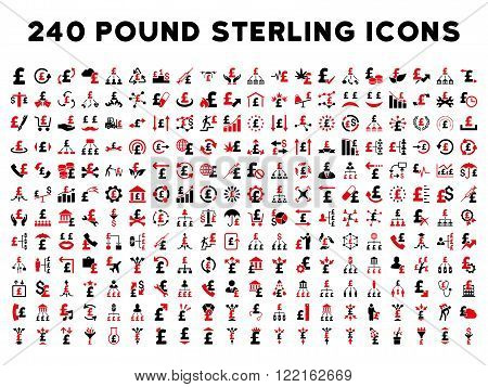 240 British Business vector icons. Style is bicolor intensive red and black flat symbols on a white background. Pound sterling icon is basic element.