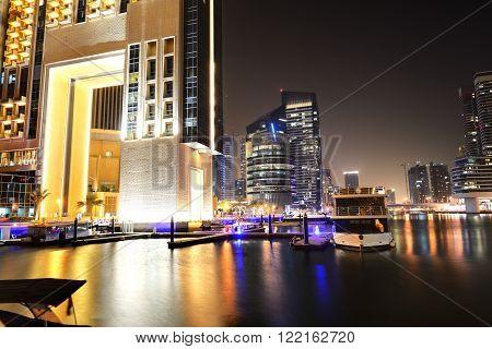 The night illumination of Dubai Marina UAE