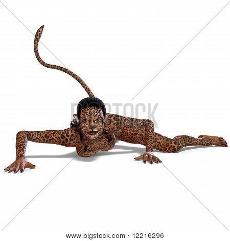 female fantasy leopard creature