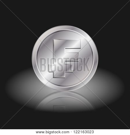 Symbol currency franc. Franc sign on silver coins with shadow on a black background.