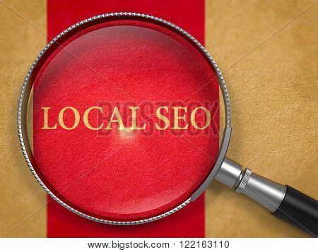 Local SEO - Search Engine Optimization - Concept through Magnifier on Old Paper with Dark Red Vertical Line Background. 3D Render.
