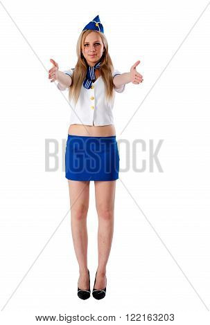 Attractive young stewardess. Isolated over white background