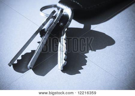 Blue toned close-up of house keys and key fob