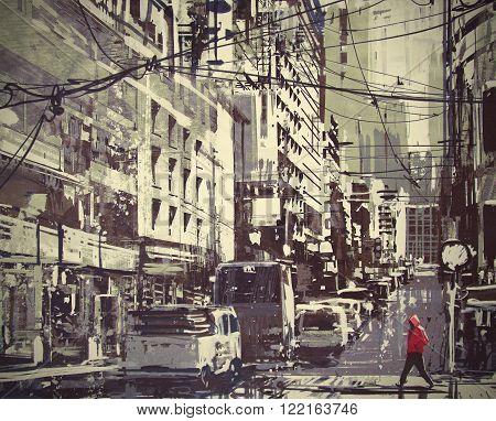 man in a red hood crossing the street digital painting