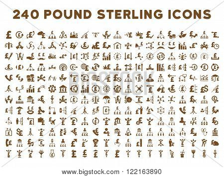 240 British Business vector icons. Style is brown flat symbols on a white background. Pound sterling icon is basic element.