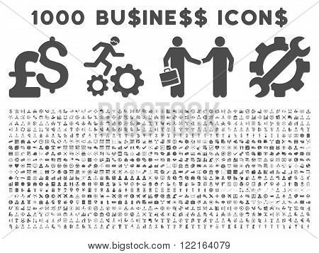 1000 Business vector icons. Pictogram style is gray flat icons on a white background. Pound and dollar currency icons are used