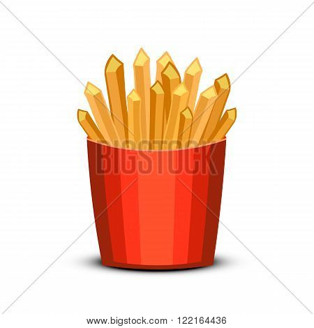 French fries in red package. Fast food french fries in paper pack isolated on white background.