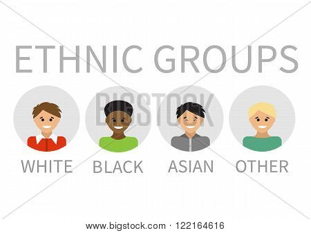 Multi-ethnic People Portraits. Vector illustration. Ethnic groups.