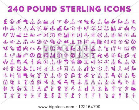 240 British Business vector icons. Style is violet flat symbols on a white background. Pound sterling icon is basic element.