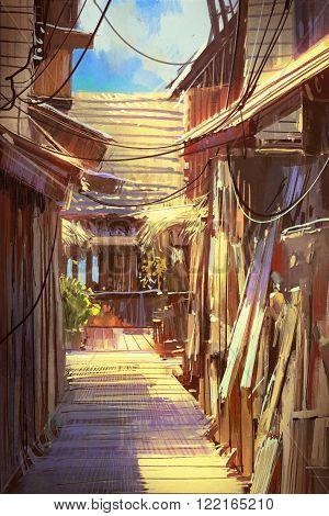 wooden village pathway, illustration oil painting style