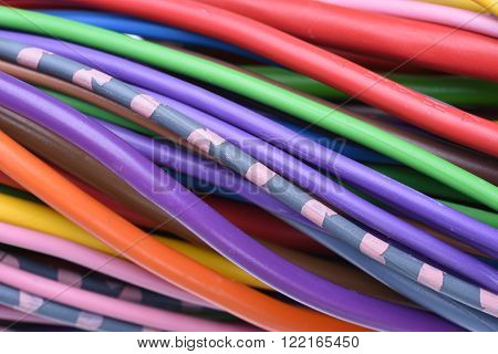 Colored electrical cables used in electrical installation