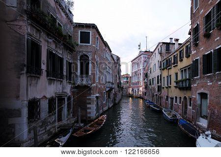 Gondolas And Boats At Moorings