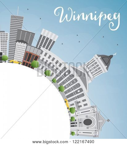 Winnipeg Skyline with Gray Buildings and Copy Space. Vector Illustration. Business Travel and Tourism Concept with Modern Buildings. Image for Presentation Banner Placard and Web Site.
