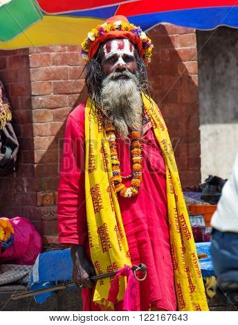 Sadhu With Traditional Painted Face , Nepal