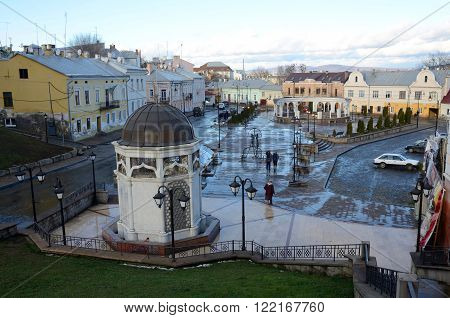 CHERNIVTSI UKRAINE - DECEMBER 1 2015: view of Turkish square with fountain on December 1 in ChernivtsiUkraine.It's popular place to relax in summer.Chernovtsy is a city in western Ukraine situated on the bank of Prut river