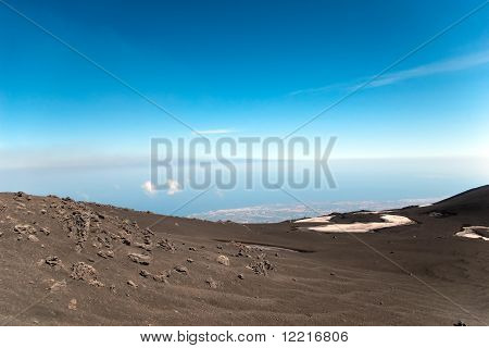 View From Mount Etna - The Biggest Active Volcano In Europe, Sicily, Italy