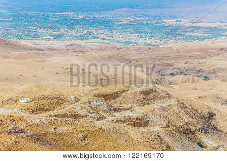 Sand and gravel hills and ravines in the mountain areas of Jordan. Desert mountain landscape ** Note: Soft Focus at 100%, best at smaller sizes