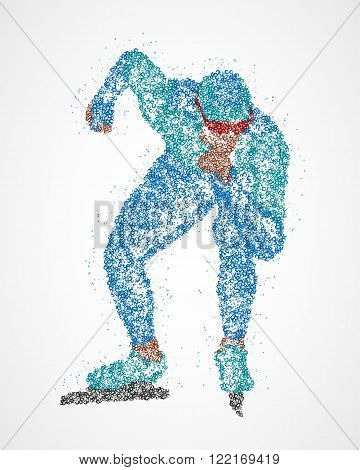 Abstract skater at the start of multicolored circles. Vector illustration.