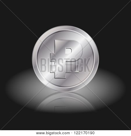 Symbol currency ruble. Ruble sign on silver coins with shadow on a black background.