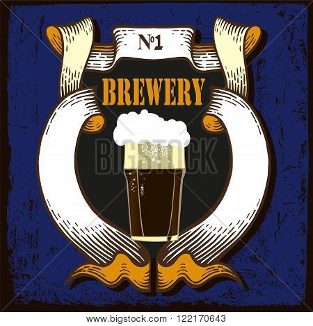 Beer label design. Beer label contains images of beer glass, text, coat  of arms on vintage background. Vintage style.