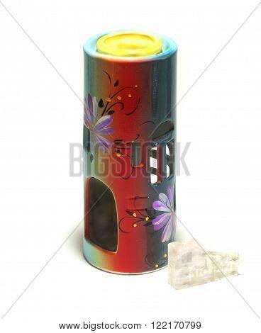 aroma oil burner isolated on white,crystslised salt and lump