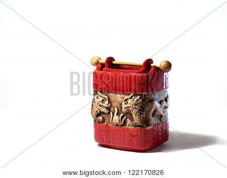 aroma oil burner isolated on white,red lamp,in white,holiday