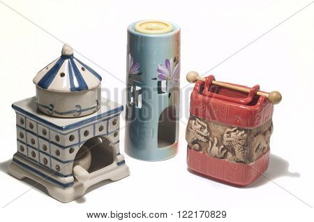 aroma oil burner isolated on white,lump,health,culture,in the room