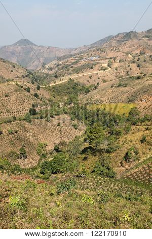 Rural scene in Myanmar near Kalaw. This area is popular with tourist trekking where overseas vistors experience the rural landscapes of Myanmar (Burma)