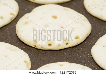 thick fresh home made pancakes, leavened and raised