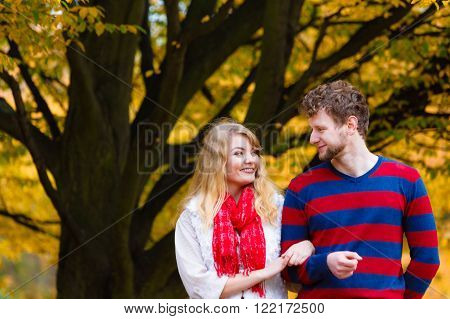 Couple In Love Enjoy Romantic Date In Park.