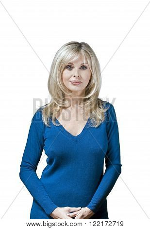 Caucasian woman with her nipples seen through sweater.